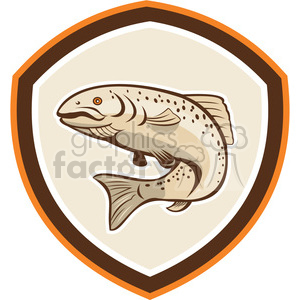 rainbow trout jumping up in shield shape clipart. Royalty-free image # 392337