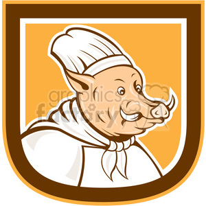 boar chef in shield shape clipart. Royalty-free image # 392357