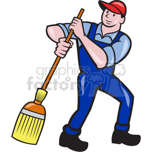 man sweeping broom frnt shape