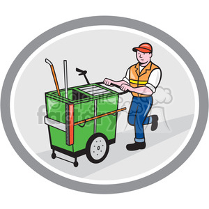 man taking garbage cart out shape clipart. Royalty-free image # 392427