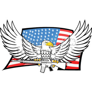 eagle holding gun in talons clipart. Commercial use image # 392552