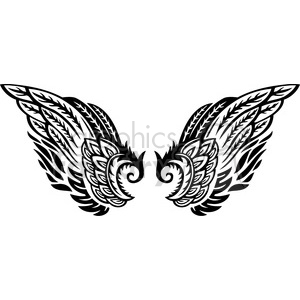 wing wings tattoo design black+white vinyl+ready feather feathers