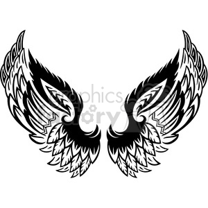 vinyl ready vector wing tattoo design 049