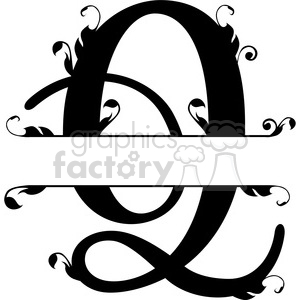 split regal q monogram vector design clipart. Royalty-free image # 392851