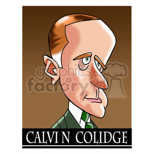 celebrity famous cartoon editorial-only people funny caricature calvin+colidge president 30th