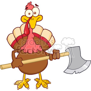 6890_Royalty_Free_Clip_Art_Turkey_With_Axe_Cartoon_Mascot_Character clipart. Commercial use image # 393068