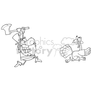 turkey thanksgiving bird cartoon running hunting chasing axe dinner black+white
