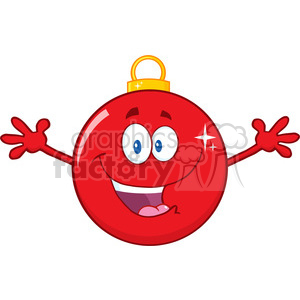 Royalty Free RF Clipart Illustration Happy Red Christmas Ball Cartoon Mascot Character With Open Arms clipart. Royalty-free image # 393150