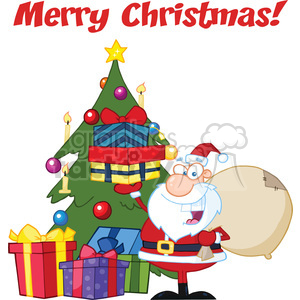 Royalty Free RF Clipart Illustration Merry Christmas Greeting With Santa Claus Holding Up A Stack Of Gifts By A Christmas Tree clipart. Commercial use image # 393160