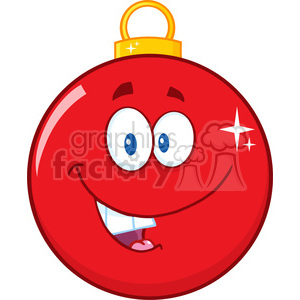 Royalty Free RF Clipart Illustration Happy Red Christmas Ball Cartoon Mascot Character clipart. Royalty-free image # 393195