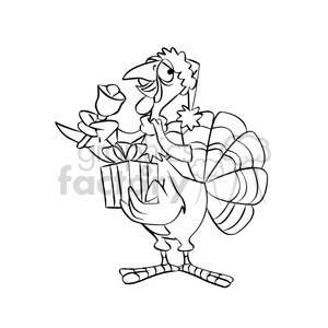 turkey holding a christmas present black white clipart. Royalty-free image # 393222