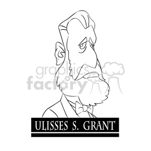 ulisses s grant black and white clipart. Royalty-free image # 393332