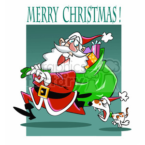 cartoon santa getting chased by small dog clipart. Commercial use image # 393368