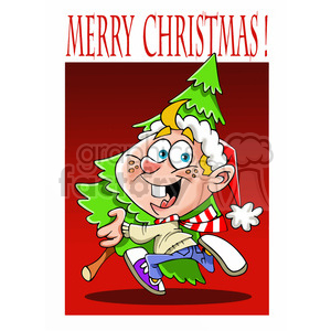 cartoon characters funny kid getting christmas+tree picking happy child fun merry+christmas
