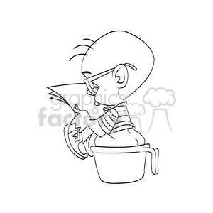 Child Going To Bathroom In A Bowl Cartoon Black White
