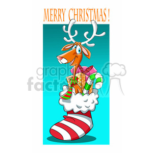 merry christmas stocking and reindeer cartoon clipart. Royalty-free image # 393398