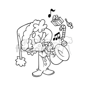 kid playing saxophone cartoon black white clipart. Commercial use image # 393466