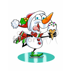 snowman ice skating eating ice cream clipart. Royalty-free image # 393476