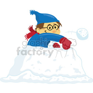 winter fun snowball fight clipart. Commercial use image # 393526