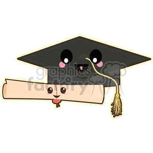 graduation cap cartoon character clipart. Commercial use image # 393556