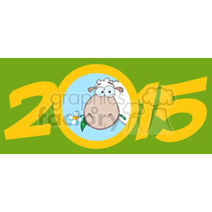 Clipart Illustration Year Of Sheep 2015 Numbers Green Design Card With Sheep Head clipart. Royalty-free image # 393576
