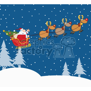 Christmas Eve Clipart.Clipart Illustration Santa Claus In Flight With His Reindeer And Sleigh In Christmas Night Clipart Royalty Free Clipart 393596