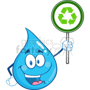 Happy Water Drop Character Holding A Recycle Sign clipart. Royalty-free image # 393606