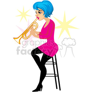 female playing the trumpet clipart. Royalty-free image # 393647
