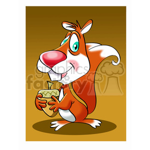 vector cartoon squirrel holding a nut clipart. Royalty-free image # 393707