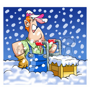 cartoon comic funny characters people moving man stuck snow buried mover delivery dolly winter weather delayed