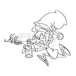 black and white cartoon guy chasing bug mosquito zancudo negro clipart. Commercial use image # 393907