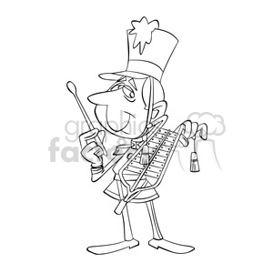black and white image of band member hombre tocando lira negro clipart. Commercial use image # 393977