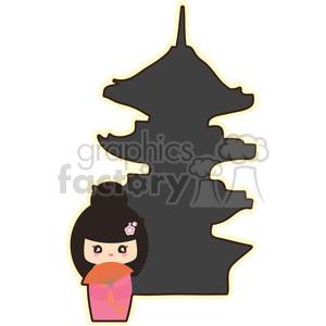 geisha pagoda cartoon character illustration