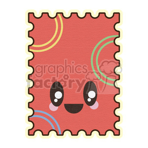 Postage Stamp cartoon character illustration clipart. Commercial use image # 394137