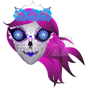 Day Of The Dead girl skull illustration on white clipart. Royalty-free image # 394167