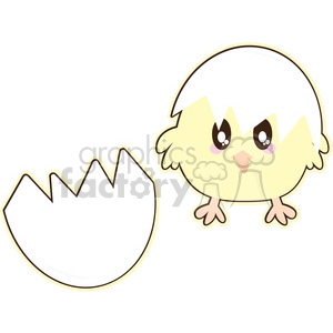 Chick Egg cartoon character illustration clipart. Commercial use image # 394187