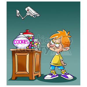 cartoon funny comedy comics camera surveillance kid cookie watching children candy