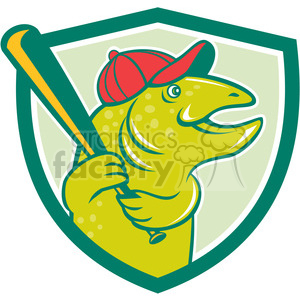 trout baseball player batting SHIELD clipart. Royalty-free image # 394338