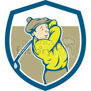 golfer swinging TEE OFF retro SHIELD clipart. Commercial use image # 394348