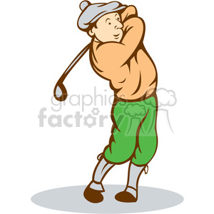 golfer swinging TEE OFF retro ISO clipart. Royalty-free image # 394358