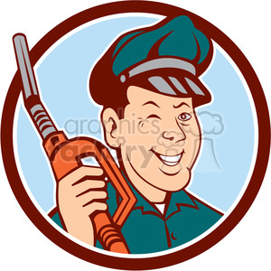 gas pump attendant winking CIRC clipart. Royalty-free image # 394378