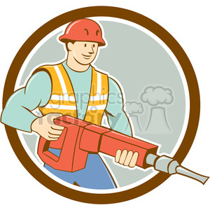 construction worker jackhammer carry CIRC clipart. Commercial use image # 394388