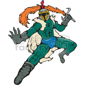 knight fiery sword frnt CARTOON clipart. Commercial use image # 394398