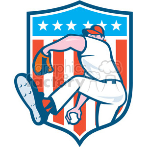 pitcher throw ball side hide BALL USA FLAG CREST clipart. Royalty-free image # 394408