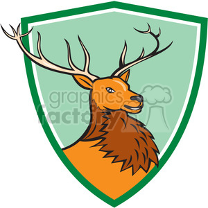 red deer HEAD SIDE SHIELD clipart. Commercial use image # 394438