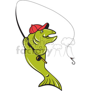 trout fly fishing rod reel hook ISO clipart. Commercial use image # 394478