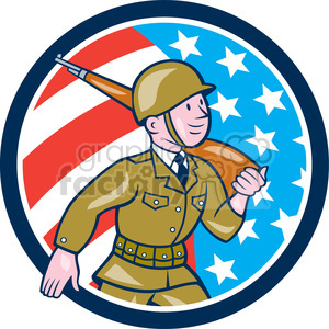 soldier marching rifle USA FLAG CIRC clipart. Royalty-free image # 394488