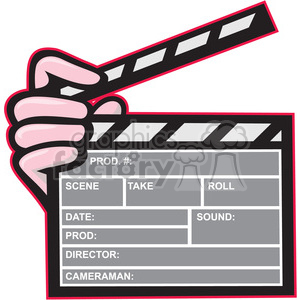 movie clapboard front hand ISO clipart. Commercial use image # 394498