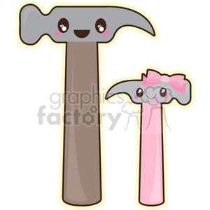 Hammer Dad and Daughter clipart. Commercial use image # 394638