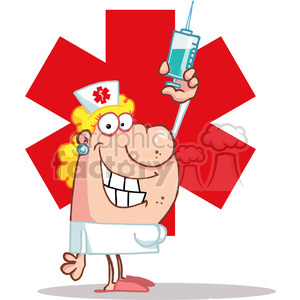 Medical Nurse with  Vaccine Syringe clipart. Royalty-free image # 378558